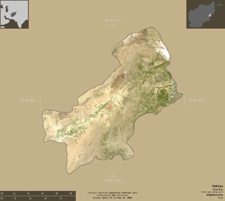 Paktya, province of Afghanistan.   satellite imagery. Shape isolated on solid background with informative overlays. Contains modified Copernicus Sentinel data