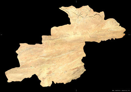 Ghor, province of Afghanistan.   satellite imagery. Shape isolated on black. Description, location of the capital. Contains modified Copernicus Sentinel data