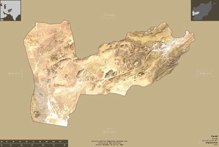Farah, province of Afghanistan.  satellite imagery. Shape isolated on solid background with informative overlays. Contains modified Copernicus Sentinel data