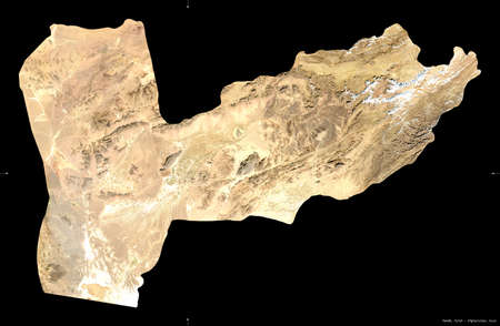Farah, province of Afghanistan. satellite imagery. Shape isolated on black. Description, location of the capital. Contains modified Copernicus Sentinel data