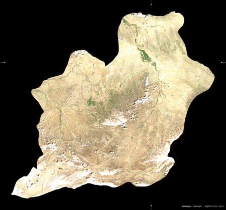 Samangan, province of Afghanistan.  satellite imagery. Shape isolated on black. Description, location of the capital. Contains modified Copernicus Sentinel data Reklamní fotografie