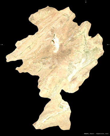Ghazni, province of Afghanistan. satellite imagery. Shape isolated on black. Description, location of the capital. Contains modified Copernicus Sentinel data Reklamní fotografie