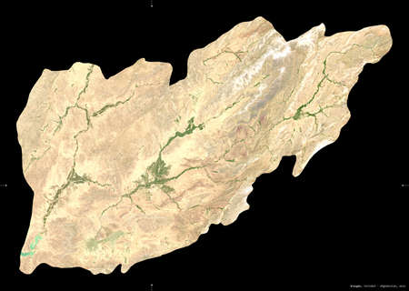 Uruzgan, province of Afghanistan.  satellite imagery. Shape isolated on black. Description, location of the capital. Contains modified Copernicus Sentinel data