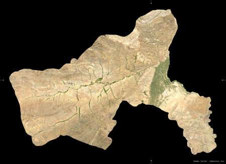 Parwan, province of Afghanistan.  satellite imagery. Shape isolated on black. Description, location of the capital. Contains modified Copernicus Sentinel data