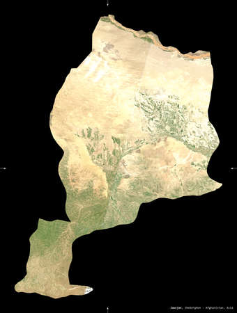 Jawzjan, province of Afghanistan.   satellite imagery. Shape isolated on black. Description, location of the capital. Contains modified Copernicus Sentinel data Reklamní fotografie