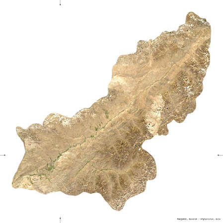 Panjshir, province of Afghanistan.  satellite imagery. Shape isolated on white. Description, location of the capital. Contains modified Copernicus Sentinel data