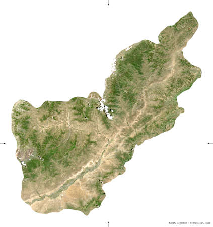 Kunar, province of Afghanistan.  satellite imagery. Shape isolated on white. Description, location of the capital. Contains modified Copernicus Sentinel data Reklamní fotografie