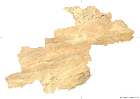 Ghor, province of Afghanistan.   satellite imagery. Shape isolated on white. Description, location of the capital. Contains modified Copernicus Sentinel data