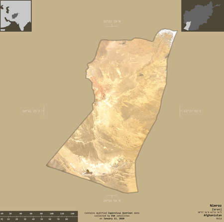 Nimroz, province of Afghanistan.  satellite imagery. Shape isolated on solid background with informative overlays. Contains modified Copernicus Sentinel data
