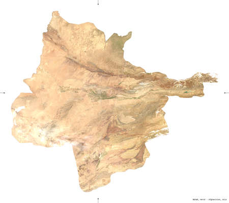 Hirat, province of Afghanistan.  satellite imagery. Shape isolated on white. Description, location of the capital. Contains modified Copernicus Sentinel data