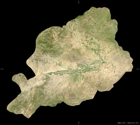 Khost, province of Afghanistan. satellite imagery. Shape isolated on black. Description, location of the capital. Contains modified Copernicus Sentinel data Reklamní fotografie