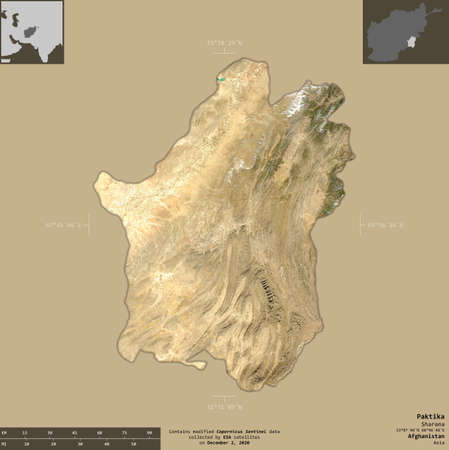 Paktika, province of Afghanistan.   satellite imagery. Shape isolated on solid background with informative overlays. Contains modified Copernicus Sentinel data Reklamní fotografie