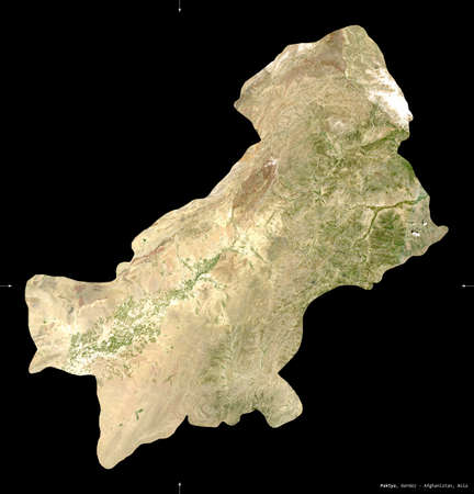Paktya, province of Afghanistan.  satellite imagery. Shape isolated on black. Description, location of the capital.