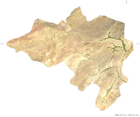 Wardak, province of Afghanistan. imagery. Shape isolated on white. Description, location of the capital. Contains modified Copernicus Sentinel data