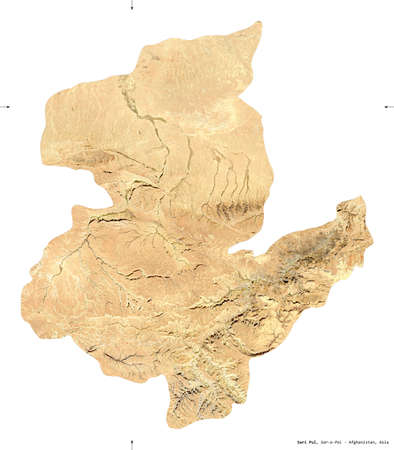 Sari Pul, province of Afghanistan. satellite imagery. Shape isolated on white. Description, location of the capital. Contains modified Copernicus Sentinel data