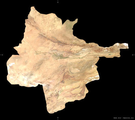 Hirat, province of Afghanistan. satellite imagery. Shape isolated on black. Description, location of the capital. Contains modified Copernicus Sentinel data Reklamní fotografie