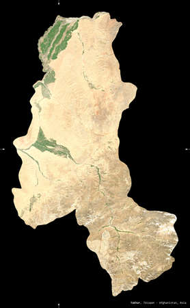 Takhar, province of Afghanistan. satellite imagery. Shape isolated on black. Description, location of the capital. Contains modified Copernicus Sentinel data