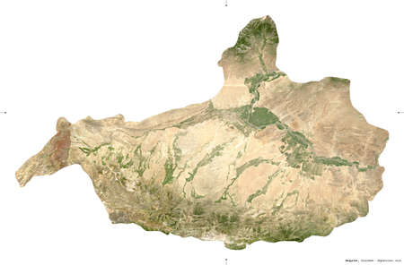 Nangarhar, province of Afghanistan.  satellite imagery. Shape isolated on white. Description, location of the capital. Contains modified Copernicus Sentinel data Reklamní fotografie