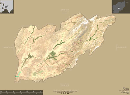 Uruzgan, province of Afghanistan.  satellite imagery. Shape isolated on solid background with informative overlays. Contains modified Copernicus Sentinel data