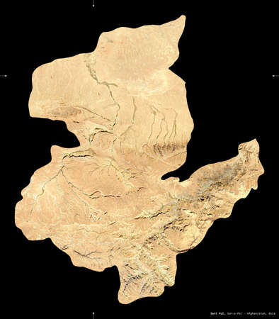 Sari Pul, province of Afghanistan. satellite imagery. Shape isolated on black. Description, location of the capital. Contains modified Copernicus Sentinel data Reklamní fotografie