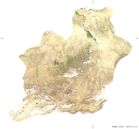 Samangan, province of Afghanistan.   satellite imagery. Shape isolated on white. Description, location of the capital. Contains modified Copernicus Sentinel data