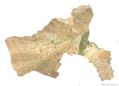 Parwan, province of Afghanistan.  satellite imagery. Shape isolated on white. Description, location of the capital. Contains modified Copernicus Sentinel data