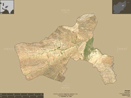 Parwan, province of Afghanistan.  satellite imagery.