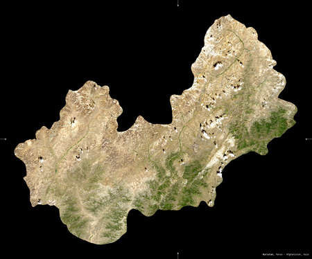 Nuristan, province of Afghanistan. satellite imagery. Shape isolated on black. Description, location of the capital. Reklamní fotografie
