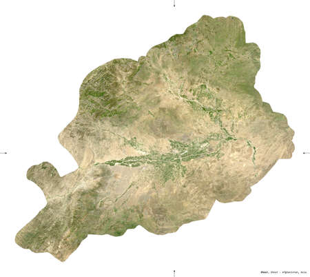 Khost, province of Afghanistan.   satellite imagery. Shape isolated on white. Description, location of the capital.