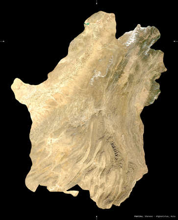 Paktika, province of Afghanistan.  satellite imagery. Shape isolated on black. Description, location of the capital.