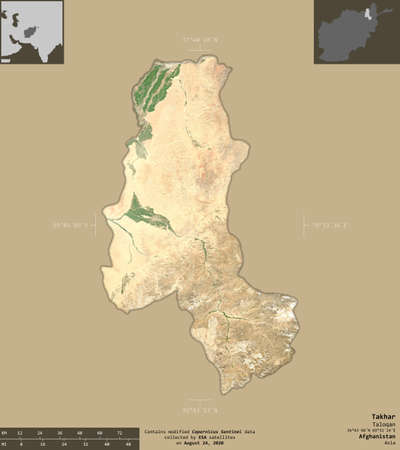 Takhar, province of Afghanistan.  satellite imagery. Shape isolated on solid background with informative overlays.