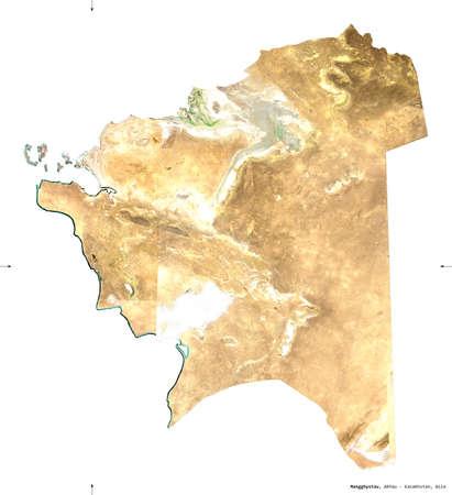 Mangghystau, region of Kazakhstan. Sentinel-2 satellite imagery. Shape isolated on white. Description, location of the capital. Contains modified Copernicus Sentinel data Reklamní fotografie
