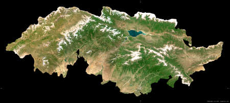 Jalal-Abad, province of Kyrgyzstan. Sentinel-2 satellite imagery. Shape isolated on black. Description, location of the capital. Contains modified Copernicus Sentinel data Reklamní fotografie