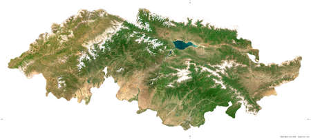 Jalal-Abad, province of Kyrgyzstan. Sentinel-2 satellite imagery. Shape isolated on white. Description, location of the capital. Contains modified Copernicus Sentinel data
