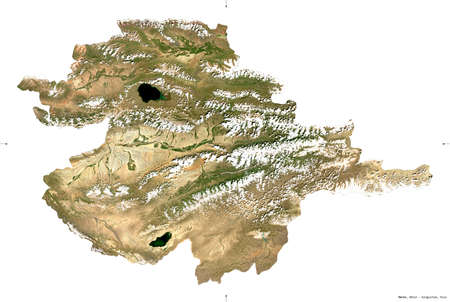Naryn, province of Kyrgyzstan. Sentinel-2 satellite imagery. Shape isolated on white. Description, location of the capital. Contains modified Copernicus Sentinel data