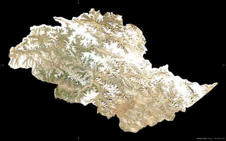 Northern Areas, centrally administered area of Pakistan. Sentinel-2 satellite imagery. Shape isolated on black. Description, location of the capital. Contains modified Copernicus Sentinel data