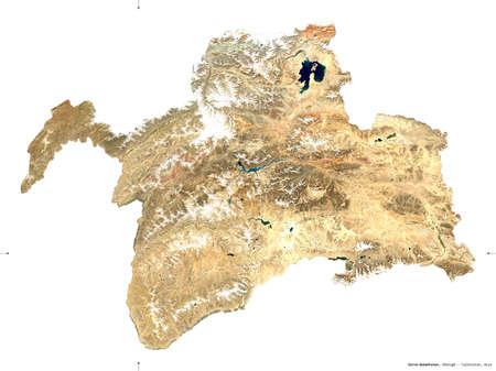 Gorno-Badakhshan, region of Tajikistan. Sentinel-2 satellite imagery. Shape isolated on white. Description, location of the capital. Contains modified Copernicus Sentinel data Reklamní fotografie