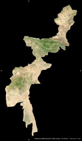 Federally Administered Tribal Areas, territory of Pakistan. Sentinel-2 satellite imagery. Shape isolated on black. Description, location of the capital. Contains modified Copernicus Sentinel data Reklamní fotografie