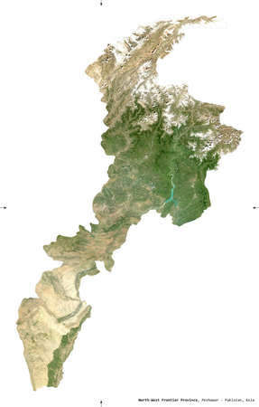North-West Frontier Province, province of Pakistan. Sentinel-2 satellite imagery. Shape isolated on white. Description, location of the capital. Contains modified Copernicus Sentinel data Reklamní fotografie