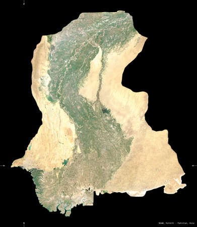 Sind, province of Pakistan. Sentinel-2 satellite imagery. Shape isolated on black. Description, location of the capital. Contains modified Copernicus Sentinel data