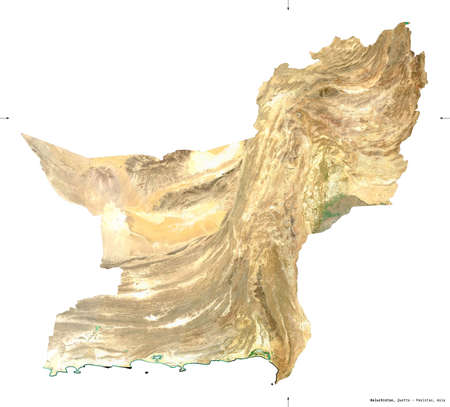 Baluchistan, province of Pakistan. Sentinel-2 satellite imagery. Shape isolated on white. Description, location of the capital. Contains modified Copernicus Sentinel data