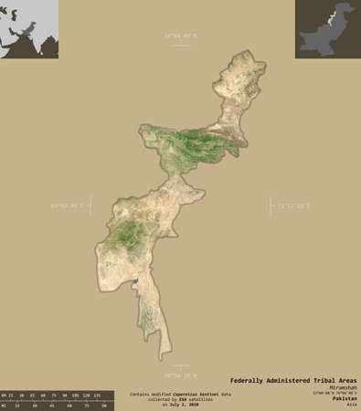 Federally Administered Tribal Areas, territory of Pakistan. Sentinel-2 satellite imagery. Shape isolated on solid background with informative overlays. Contains modified Copernicus Sentinel data