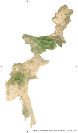 Federally Administered Tribal Areas, territory of Pakistan. Sentinel-2 satellite imagery. Shape isolated on white. Description, location of the capital. Contains modified Copernicus Sentinel data
