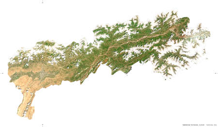 Tadzhikistan Territories, region of Tajikistan. Sentinel-2 satellite imagery. Shape isolated on white. Description, location of the capital. Contains modified Copernicus Sentinel data