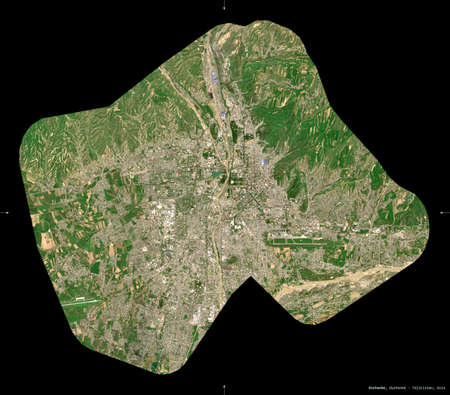 Dushanbe, region of Tajikistan. Sentinel-2 satellite imagery. Shape isolated on black. Description, location of the capital. Contains modified Copernicus Sentinel data