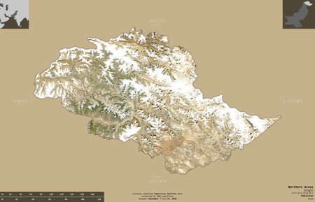 Northern Areas, centrally administered area of Pakistan. Sentinel-2 satellite imagery. Shape isolated on solid background with informative overlays. Contains modified Copernicus Sentinel data