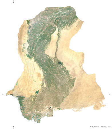 Sind, province of Pakistan. Sentinel-2 satellite imagery. Shape isolated on white. Description, location of the capital. Contains modified Copernicus Sentinel data