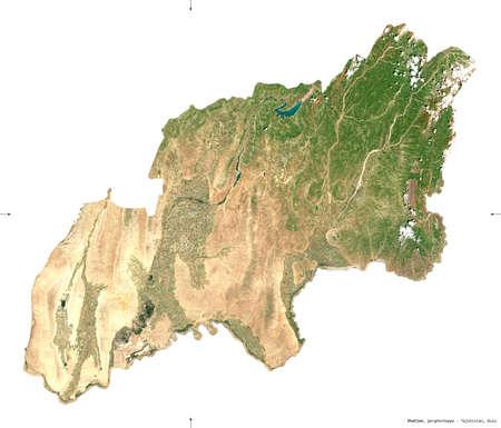 Khatlon, region of Tajikistan. Sentinel-2 satellite imagery. Shape isolated on white. Description, location of the capital. Contains modified Copernicus Sentinel data Reklamní fotografie