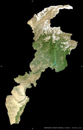 North-West Frontier Province, province of Pakistan. Sentinel-2 satellite imagery. Shape isolated on black. Description, location of the capital. Contains modified Copernicus Sentinel data Reklamní fotografie