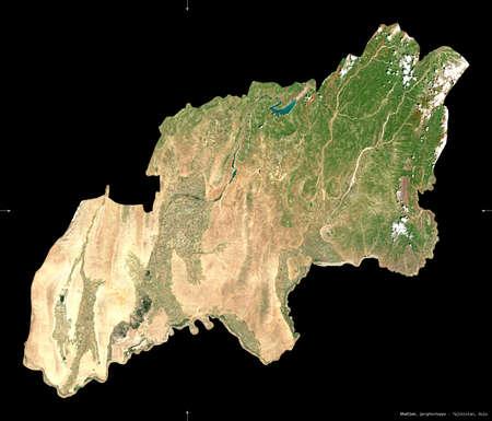 Khatlon, region of Tajikistan. Sentinel-2 satellite imagery. Shape isolated on black. Description, location of the capital. Contains modified Copernicus Sentinel data